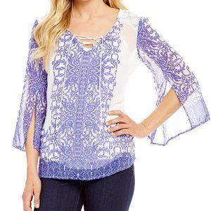 Figueroa & Flower Patsy Lace-Up Neck print shirt M